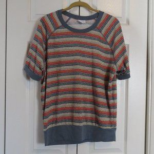LuLaRoe Stripe Short Sleeve Sweatshirt Jane Sz M